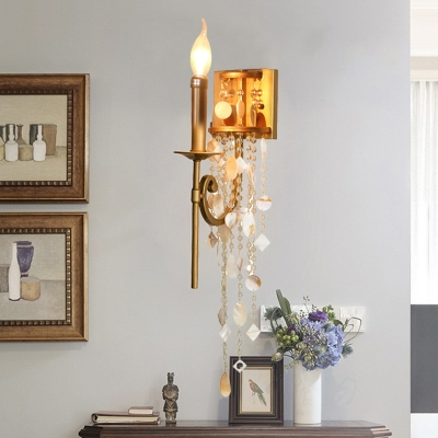 Beautifulhalo coupon: 1 Bulb Candle Sconce Light Vintage Gold Metal Wall Lighting Fixture with Crystal Bead Strand