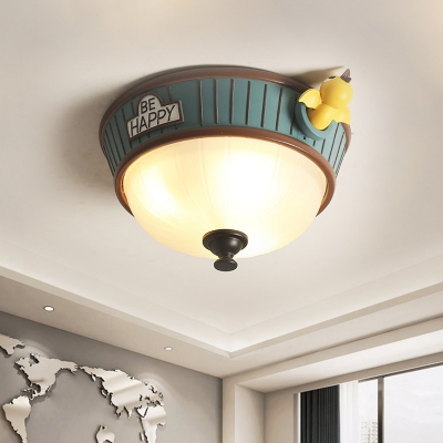 3-Bulb Child Room Ceiling Lamp Cartoon Green Flush Mount Fixture with Bowl Frosted Glass Shade