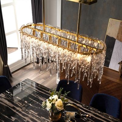 Elliptical Restaurant Island Pendant Postmodern Clear Crystal 7-Light Gold Suspension Light