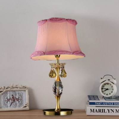Fabric Pink Nightstand Light Bell Contemporary Night Table Lamp with Crystal Decor