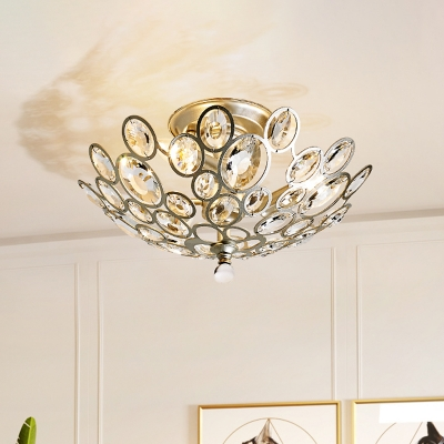 Modern Bowl Semi Flush 3 Heads Beveled Crystal Flush Mount Lighting Fixture in Silver