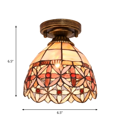 Peony/Rose/Floral-Edge Bell Flush Mount Single Bulb Shell Tiffany Ceiling Lighting Fixture in Beige/Pink/Red and White
