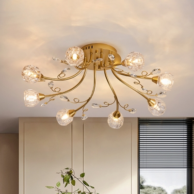 Radial Dining Room Semi Flush Light Postmodern Crystal 8 Heads Gold Ceiling Mount Chandelier