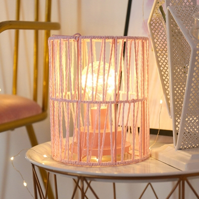 Roped Bucket Cage Small Night Light Macaron Pink LED Table Lamp with Handle for Living Room