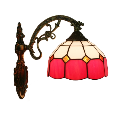 1 Bulb Grid Bowl Wall Lamp Tiffany Red/Pink/Blue and White Glass Sconce Light Fixture with Carved Bent Arm