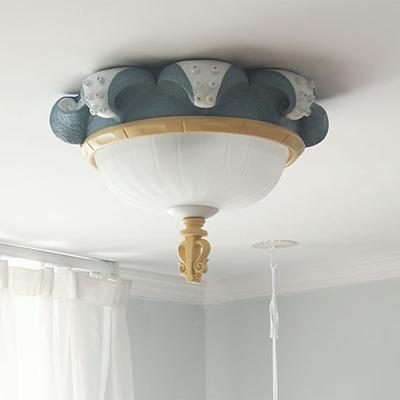 Bowl White Glass Ceiling Flush Cartoon 3 Lights Blue Flush Mount Light with Octopus Edge