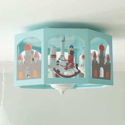 Green Faceted Drum Semi Flush Cartoon 6-Head Wood Ceiling Flush Mount Lamp with Castle and Knight Silhouette