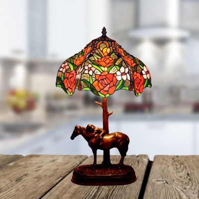 Horse Resin Table Light Baroque 1 Light Coffee Nightstand Lamp with Rose Cut Glass Shade