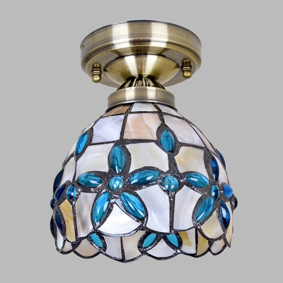 Natural Shell Brass Ceiling Fixture Flower Bowl 1-Light Mediterranean Flush Mounted Light, 5