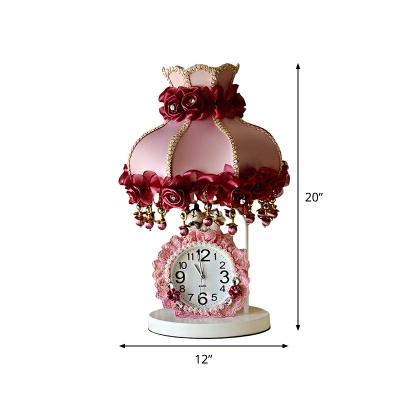 Purple-Pink Dress Table Lamp Pastoral Fabric 1-Light Parlor Nightstand Light with Clock and Braided Rose Trim