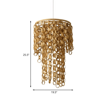 Waterfall Restaurant Suspension Light Bamboo Rattan 2-Bulb Asia Hanging Chandelier with Rectabgle/Round Design in Beige