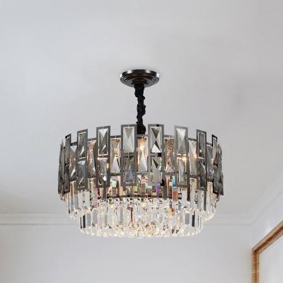 8 Bulbs Crystal Prism Chandelier Post Modern Black Drum Bedroom Ceiling Hang Fixture