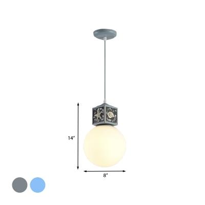 Ball Bedside Pendulum Light Milk Glass Single Mediterranean Pendant Lighting with Cube Top in Water/Sky Blue