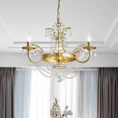 Candle Living Room Pendant Lighting Postmodern Crystal 3 Heads Gold Hanging Chandelier