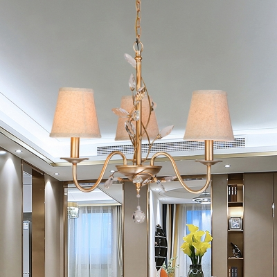 Cone Fabric Ceiling Pendant Light Farm 3 Bulbs Living Room Chandelier in Gold with Twined Crystal Vine Decor