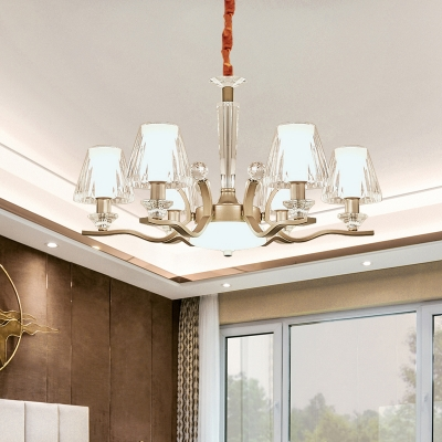 Conic Transparent Crystal Suspension Lamp Modern Style 6 Heads Bedroom Chandelier in Gold