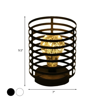 Cylindrical Ring Cage LED Night Lamp Nordic Iron Bedroom USB/Battery Table Lighting in Black/White