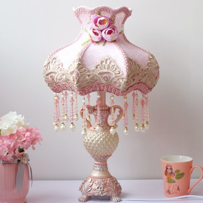 Korean Garden Vase Shaped Table Lamp Single Bulb Fabric Nightstand Light in Pink with Beaded Fringe Trim