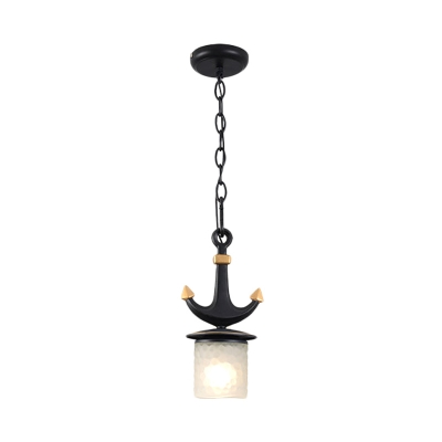 Mediterranean Anchor Down Lighting Metal 1 Light Bedroom Pendant in Black with Flared/Cylinder Opal Glass Shade, Large/Small
