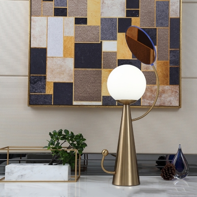 Metal Cone and Mirror Night Table Light Modern 1-Bulb Blue/Gold Finish Desk Lamp with Orb Milky Glass Shade