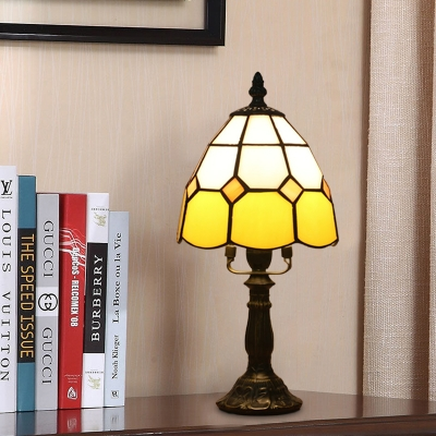Tiffany Grid Dome Nightstand Light 1-Light Beige/Yellow/Orange Cut Glass Table Lighting with Resin Lotus Base