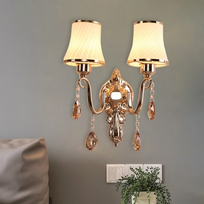 White Lattice Glass Flared Wall Light Traditional 2-Light Bedside Sconce Lamp in Brass