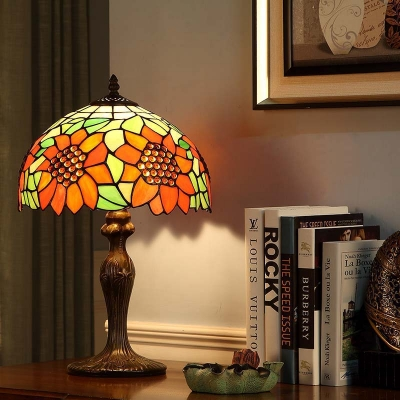 Beautifulhalo coupon: 1 Bulb Bedroom Night Lamp Baroque Dark Brown Sunflower Patterned Nightstand Light with Dome Stained Glass Shade