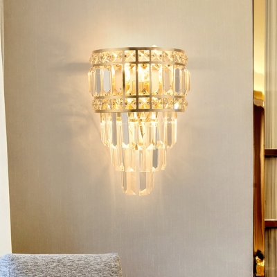3-Light Layered Flush Mount Wall Sconce Contemporary Gold Crystal Prism Wall Mount Lighting Fixture