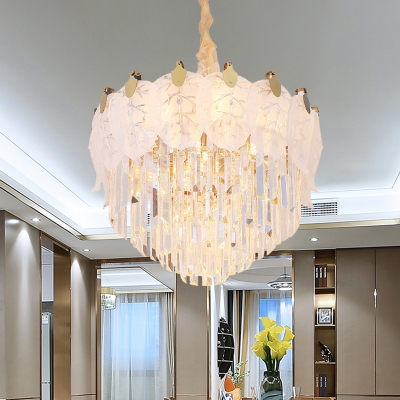 Baycheer / 9 Lights Pendant Lighting Modern Layered Clear Crystal Chandelier with Frosted Glass Leaf Decor