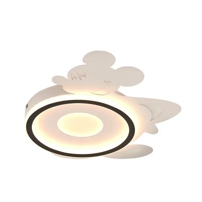 Cartoon Mouse Ceiling Flush Nordic Metal LED White Flush Mounted Light Fixture in Warm/White Light