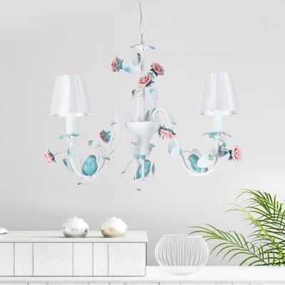Fabric White Chandelier Conical 3/6 Lights Korean Flower Suspension Light with Iron Bird Decor