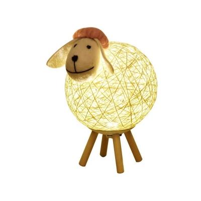 Rattan Woven Sheep USB Table Light Cartoon Grey 6