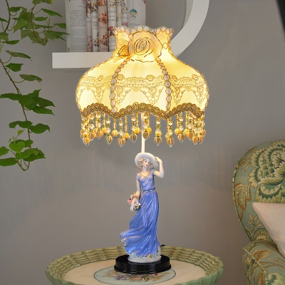 Scallop Bedside Nightstand Light Pastoral Fabric 1-Light Beige Table Lamp with Maiden Statue Pedestal