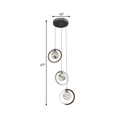Star Glass Ball Multi-Pendant Nordic 3-Light Chrome Finish LED Suspension Lamp with Loop