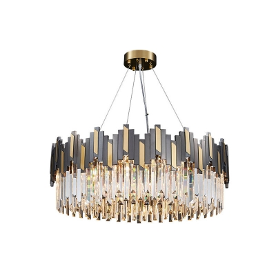 Wavy Prismatic Crystal Hanging Lamp Postmodern 8-Light Dining Room Ceiling Chandelier in Black-Gold