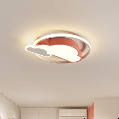 White/Pink Cloud-Shape Ceiling Flush Nordic Style LED Acrylic Flush Mounted Lighting for Bedroom