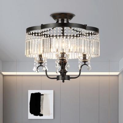 4/6 Lights Crystal Fringe Flushmount Vintage Black Floral Frame Bedroom Semi Flush Mount Ceiling Chandelier