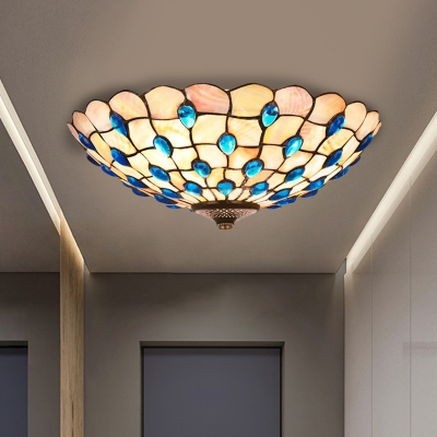 3/4 Lights Flush Mount Lighting Tiffany Gridded Bowl Shell Ceiling Lamp with Blue Jewels, 16