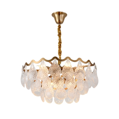 8 Lights Hanging Chandelier Contemporary Tiered Teardrop Crystal Pendant Lighting in Brass