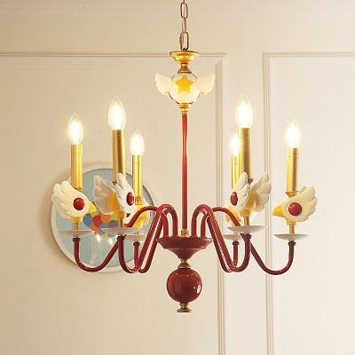 Candelabrum Chandelier Cartoon Metal 6-Light Dark Red and Gold Ceiling Pendant Lamp for Girl Bedroom