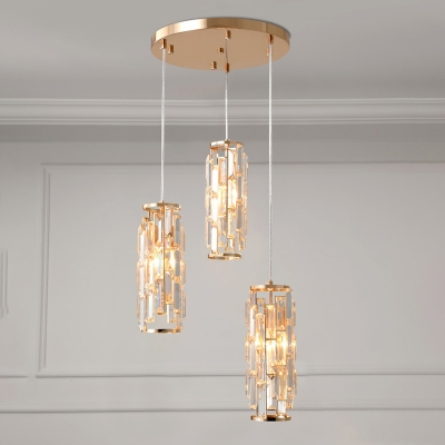 Contemporary Cylinder Cluster Pendant 3 Bulbs Clear Crystal Ceiling Suspension Lamp in Gold