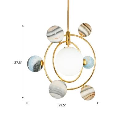 Gold Finish Star Pendant Chandelier Contemporary 7-Head Globe Glass LED Suspension Light