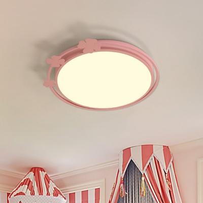 Kids Round Flush Mount Lamp Metallic LED Bedroom Flush Light Fixture in Pink with Clover Deco, White/Warm Light