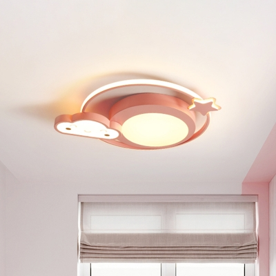 Nebula Shape Flush Ceiling Lighting Cartoon Acrylic LED Pink Flush Mount Fixture in White/Warm Light