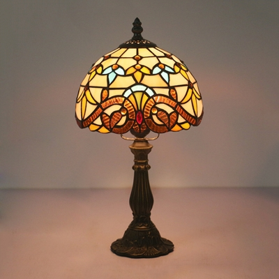 Beautifulhalo coupon: 1 Bulb Bedroom Night Table Lighting Baroque Yellow/Blue Table Lamp with Dome Stained Art Glass Shade