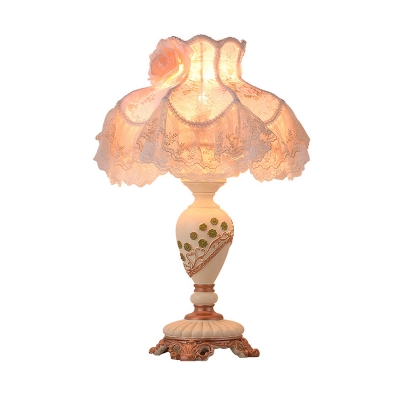 1 Bulb Urn Base Table Lamp Romantic Pastoral Resin Beige Nightstand Light with Dress Fabric Shade