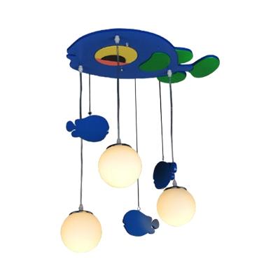 Blue Finish Fish Multi Ceiling Light Cartoon 3-Head Wood Pendulum Lamp with Sphere Cream Glass Shade