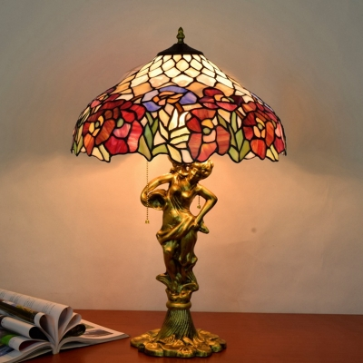 Cut Glass Bronze Night Lamp Blossom 3 Bulbs Tiffany Style Woman Table Lighting with Pull Chain