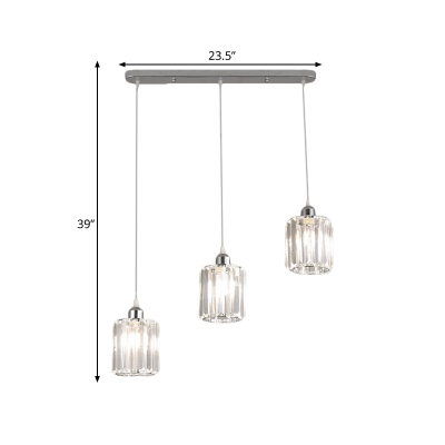 Drum Shade Cluster Pendant Light Minimalist Clear Crystal 3 Bulbs Dining Room Ceiling Lamp with Linear Canopy