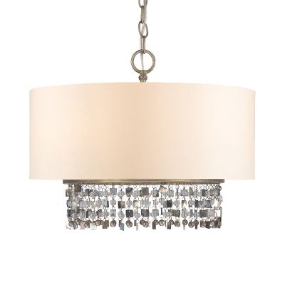 Fabric White Ceiling Pendant Lamp Drum 5-Head Countryside Chandelier with Crystal Fringe